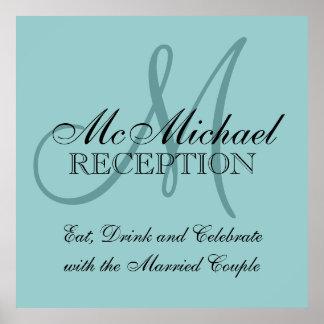 Sinal personalizado azul da recepção de casamento pôster