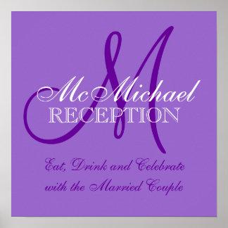Sinal personalizado roxo da recepção de casamento pôster