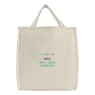 Síndrome de Down - sobrinha - saco bordado costume Bolsas De Lona