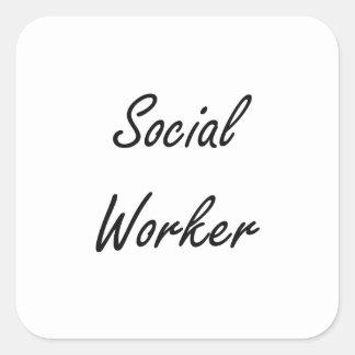 Sistema de trabalho artístico do assistente social adesivo quadrado