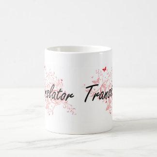 Sistema de trabalho artístico do tradutor com caneca de café