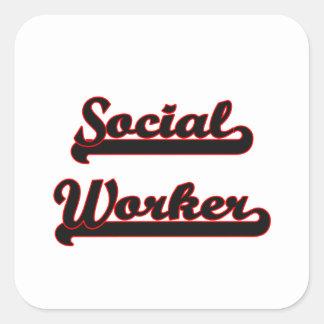 Sistema de trabalho clássico do assistente social adesivo quadrado