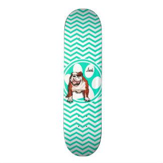 Skate Buldogue; Aqua Chevron verde