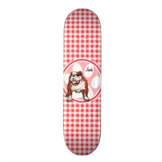 Skate Buldogue; Guingão vermelho e branco