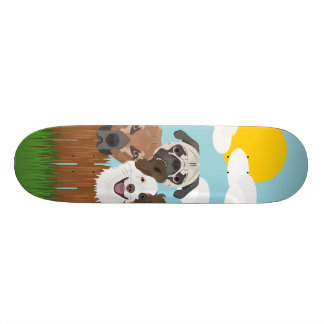 Skate Cães afortunados da ilustração em uma cerca de