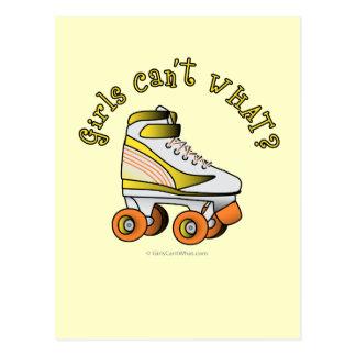 Skate de Derby do rolo - amarelo Cartão Postal