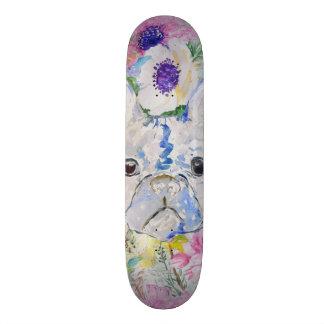 Skate Pintura floral abstrata da aguarela do buldogue
