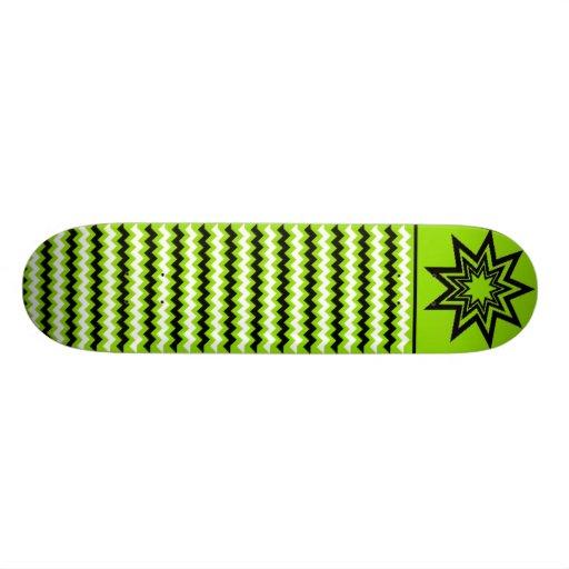 Skate Verde-Preto-Branco do teste padrão de Zerodr