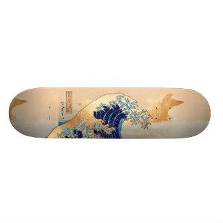 Skate Vintage de PixDezines, grande onda, 葛飾北斎の神奈川沖浪 de