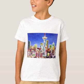 Skyline cintilante de Seattle com agulha do espaço Camiseta