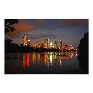 Skyline da noite de Austin Texas do lago ladybird Impressão De Foto