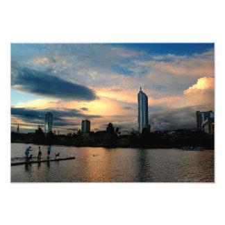Skyline de Austin Texas do por do sol do parque do Impressão De Foto