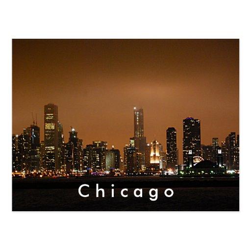 Skyline de Chicago no cais do marinho Cartoes Postais