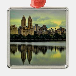 Skyline do Central Park da Nova Iorque Ornamento Quadrado Cor Prata