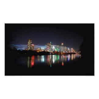 Skyline do centro 2 da noite de Austin Texas Impressão Fotográficas
