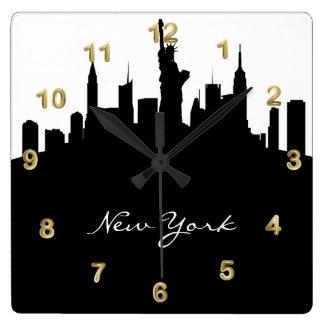 Skyline preto e branco de New York Relógios De Paredes