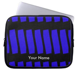 Sleeve Para Laptop Azuis marinhos & preto abstratos da luva do