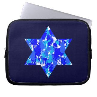 Sleeve Para Laptop Do Splatter azul da pintura de Hanukkah estrela