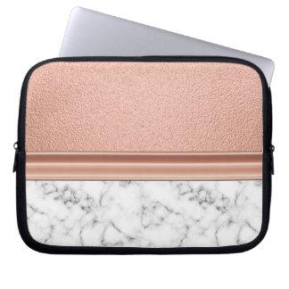 Sleeve Para Laptop Folha de ouro cor-de-rosa no mármore