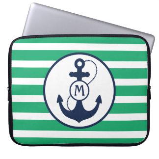 Sleeve Para Laptop Monograma náutico verde da âncora