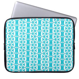 Sleeve Para Laptop Turquesa abstrata dos divisores 02 do teste padrão