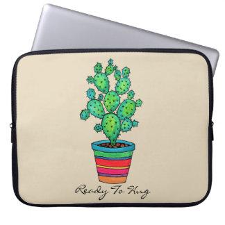 Sleeve Para Notebook Cacto lindo da aguarela no pote bonito
