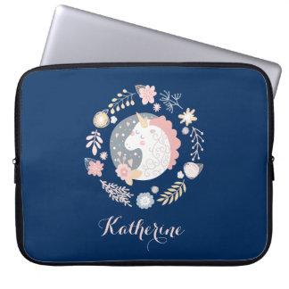 Sleeve Para Notebook Marinho personalizado bonito do unicórnio feliz
