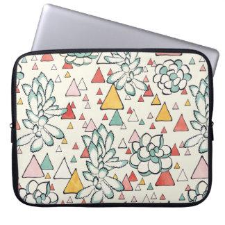 Sleeve Para Notebook Succulent e bolsa de laptop dos triângulos