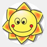 Smiley de Sun, Sun feliz Adesivo Redondo