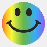 Smiley do arco-íris adesivo em formato redondo