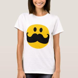 Smiley do bigode (cor customizável do fundo) camiseta