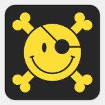 Smiley do pirata adesivos quadrados
