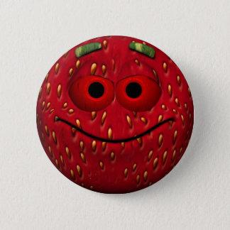 Smiley engraçado da morango bóton redondo 5.08cm