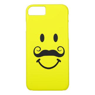 Smiley face amarelo com caso do iPhone 7 do bigode Capa iPhone 8/7