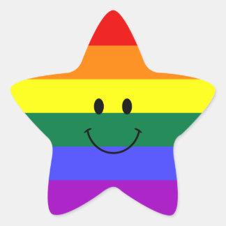 Smiley face do arco-íris adesivo em forma de estrela
