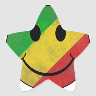 Smiley face do clássico de Rasta Adesivo Em Forma De Estrela