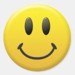 Smiley face feliz adesivo redondo