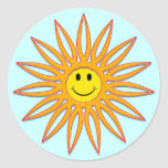 Smiley face Sun Adesivos Em Formato Redondos