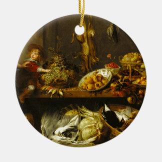 Snyders - da cozinha vida ainda com uma empregada ornamento de cerâmica redondo