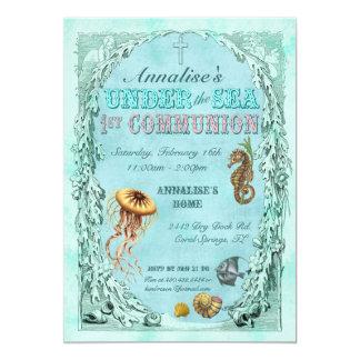Sob convite do comunhão do mar o primeiro - rosa
