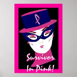 """""""Sobrevivente no rosa mim"""" poster - customizável"""