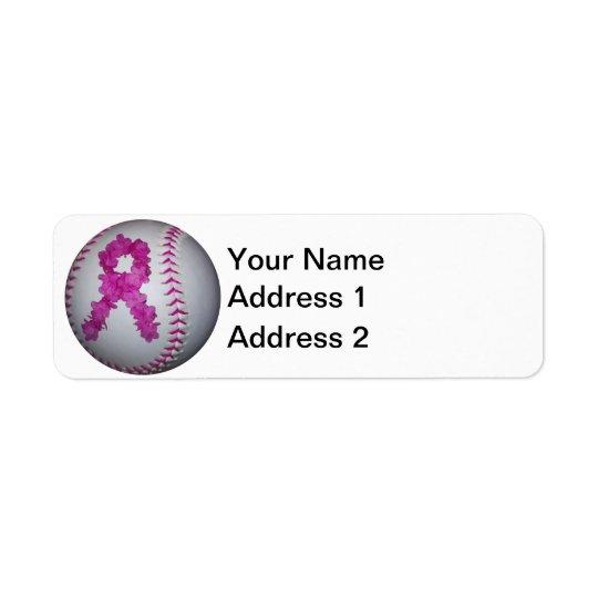 Softball da consciência do cancro da mama etiqueta endereço de retorno