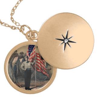 Soldado americano do vintage e bandeira dos E.U. Colar