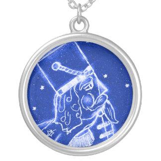 SOLDADO de BRINQUEDO do NUTCRACKER no azul brilhan Colar Com Pendente Redondo
