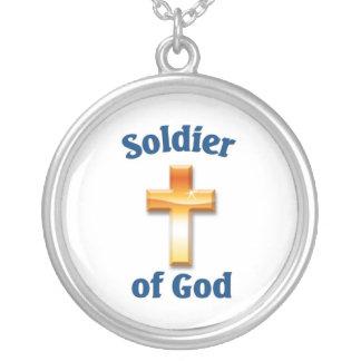 Soldado do deus colar com pendente redondo
