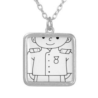 Soldado patriótico colar com pendente quadrado