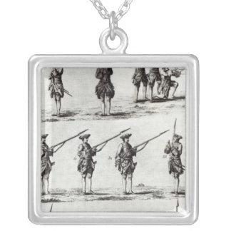 Soldados com baionetas colar com pendente quadrado