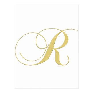 Solteiro do ouro da letra R do monograma Cartão Postal