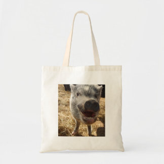 Sorrindo, mini porco feliz bolsa tote