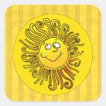 Sorriso amarelo feliz de Sun Adesivo Em Forma Quadrada